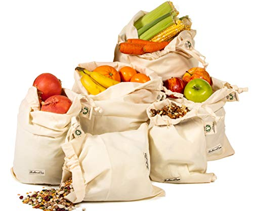 All Cotton and Linen-Muslin bulk bags organic cotton produce bags large - Reusable Produce Bags for Grocery - Muslin Bags - Nut Milk Bag - Toy Bag - Bags for Brewing - Reusable Bulk Food Storage Bags - 6 Bags (3XL, 3L)