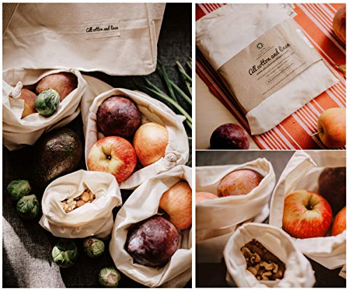 All Cotton and Linen-Reusable cotton produce bags washable - 8 Bags(2XL, 2L, 2M, 2S) - Reusable Grocery Bags - Reusable Snack Bags for Fruit - Brewing Bags - Green Storage Bags for Produce - Reusable Gift Bags Christmas