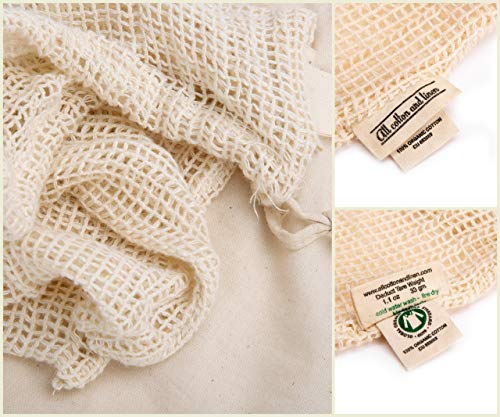 All Cotton and Linen-Natural Cotton Mesh is Biodegradable - Reusable Mesh Produce Bags - Organic Cotton Bags for Shopping Fruit And Vegetable - Mesh Produce Storage Bag - Double-Stitched Strength - Set of 6 Medium