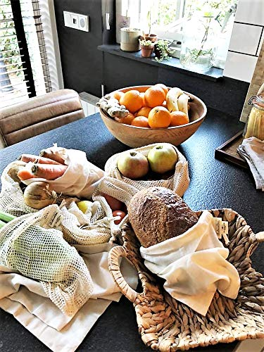 All Cotton and Linen-Mesh Vegetable Storage Bags - Reusable Organic Vegetable Bags large - Reusable Bulk Bin Bags - Veggie Storage Drawstring Produce Bags - Reusable Dry Goods Bags - Cloth Kitchen Bags Set of 6 Larges