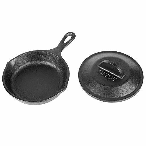 "Lodge-Lodge H5MS 5"" Round Pre-Seasoned Heat-Treated Cast Iron Individual Serving Skillet with Lid"