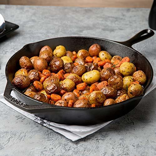 Lodge-Product Name:Lodge Seasoned Cast Iron Skillet - 12 Inch Ergonomic Frying Pan with Care Kit for All Cast Iron Cookware
