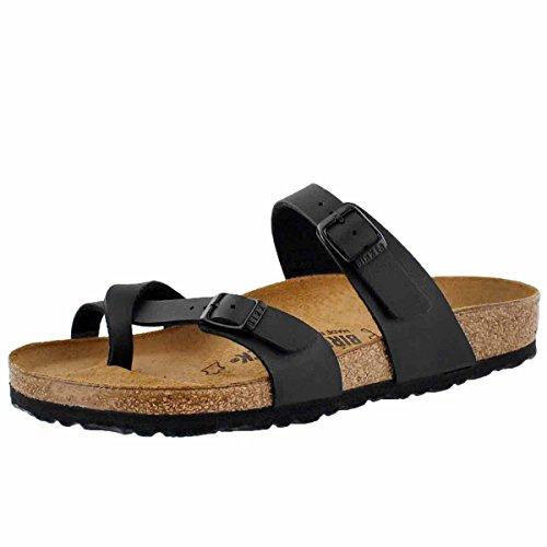 Birkenstock-Birkenstock Women's Mayari Adjustable Toe Loop Cork Footbed Sandal Black 39 M EU