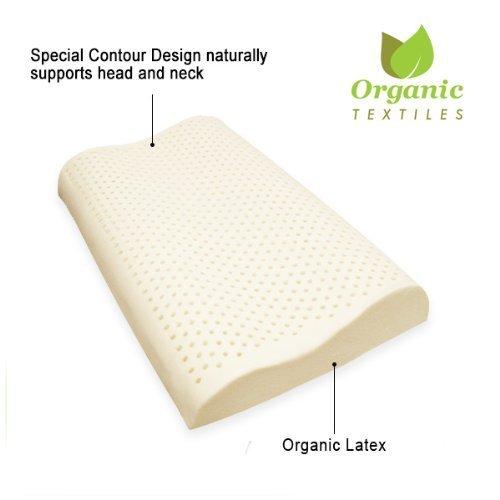 OrganicTextiles-100% Organic Latex Contour Neck Pillow King